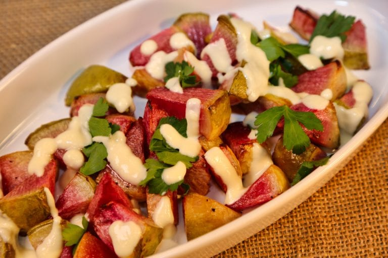 Roasted Watermelon Radishes with Honey-Goat Cheese Drizzle