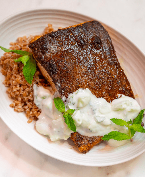 Moroccan Spiced Salmon With Farro, and a Yogurt Cucumber Salad